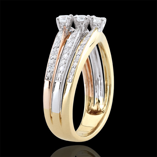 Ring Great Saturn Trilogy - three golds - 0.372 carat - 18 carat