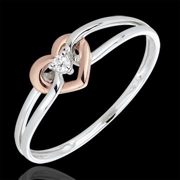 Ring My Love - wit goud. roze goud en diamant