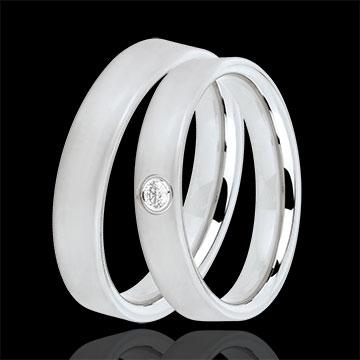 Duo trouwringen Cachemire 1 diamant