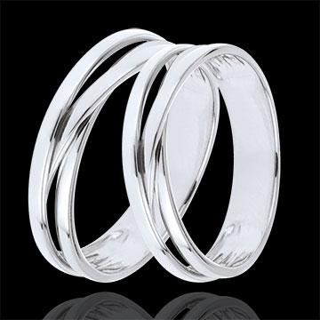 Duo trouwringen Edenity - wit goud - 9 karaats
