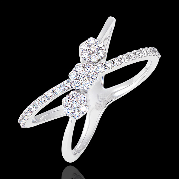 Ring Himmelselipsen - 375er Weißgold und Diamanten