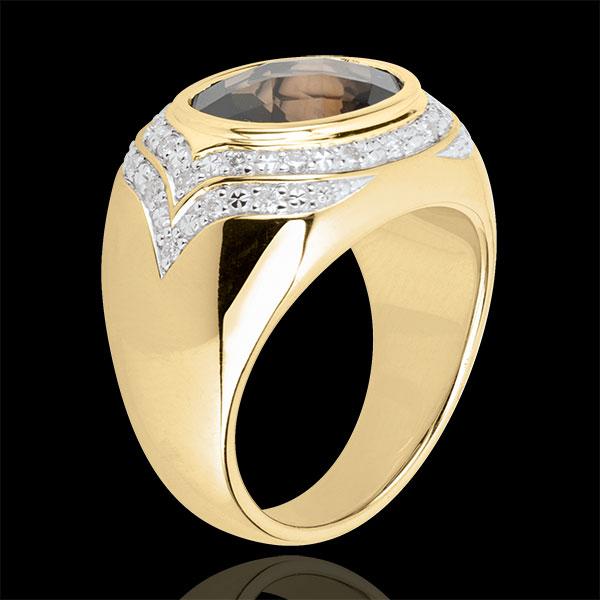 Ring Horus Rauchquarz - Silber, Diamanten und Halbedelsteine
