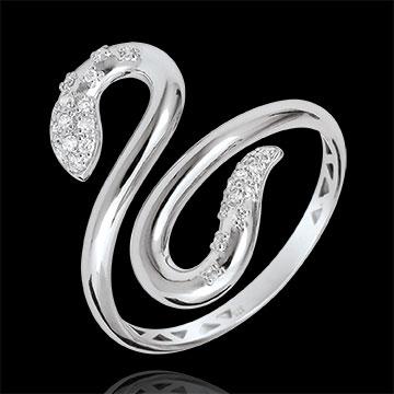 Ring Imaginary walk - Snakelike Love - white gold diamonds - 9 carats