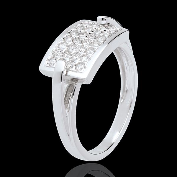 Ring Insigne pavézetting - 18 karaat witgoud - 0.36 karaat - 28 Diamanten