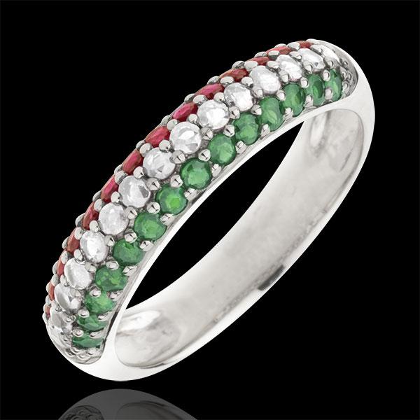 Ring Italiaanse vlag - Goud Diamant en edelstenen - 9 karaat witgoud