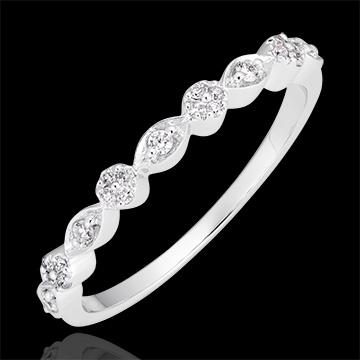 Ring Kleine hangers - wit goud 9 karaat en diamanten