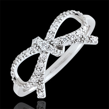 Refinement's Bow Ring - white diamonds - Silver and diamonds
