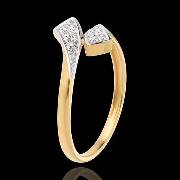Ring Kostbares Band in Gelbgold - 10 Diamanten
