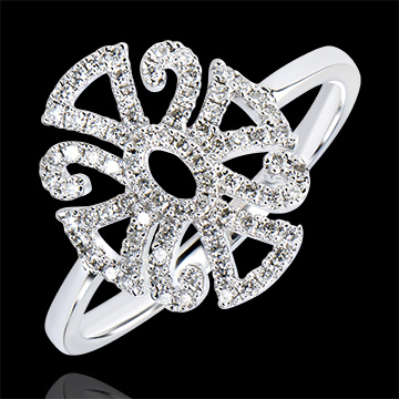 Ring Lentekriebels - Arabesk variatie - 9 karaat witgoud met Diamanten
