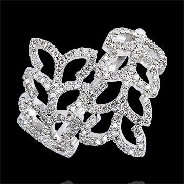 Ring Lentekriebels - Wilgenblad - 9 karaat witgoud met Diamanten