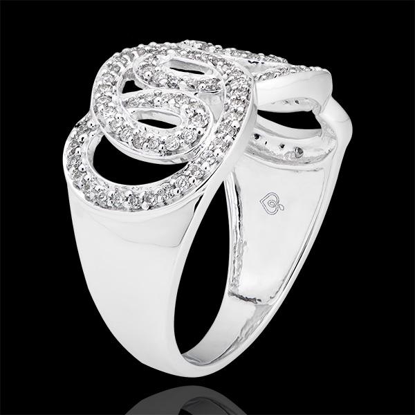 Ring Leven - Keizerlijke krullen - wit goud 9 karaat en diamanten