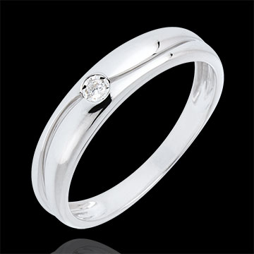 Ring Liefde Solitaire - goud met diamant - Diamant 0.022 karaat - 9 karaat witgoud
