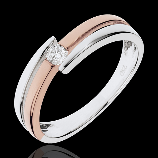 Ring Liefdesnest - Salome - 18 karaat witgoud en rozégoud - Diamanten 0.10 karaat