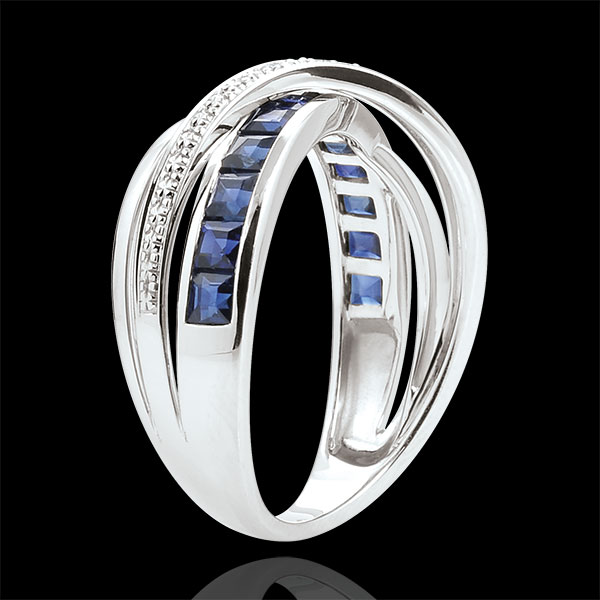 Ring Little Saturn variation 1 - white gold, sapphires and diamonds - 9 carat