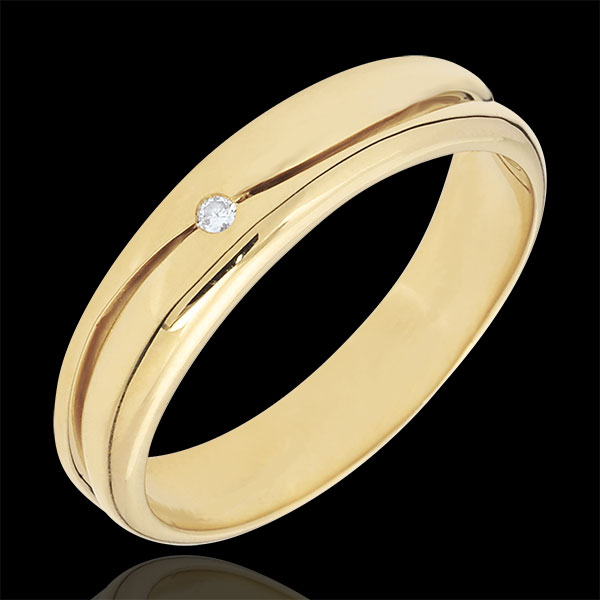 Ring Love - golden yellow wedding ring for men - 0.022 carat diamond - 18 carat