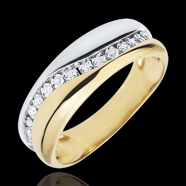 Ring Love - Multi-diamond - white and yellow gold - 9 carats