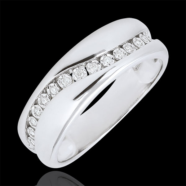 Ring Love - Multi-diamond - white gold - 9 carats