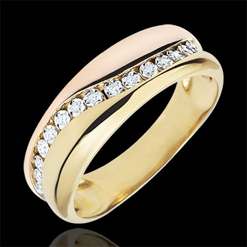 Ring Love - Multi-diamonds - rose gold and yellow gold - 9 carats