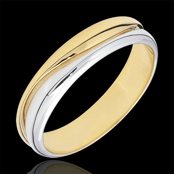 Ring Love - white gold and yellow gold wedding ring for men - 0.022 carat diamond - 9 carats