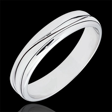 Ring Love - white gold wedding ring for men - 9 carats