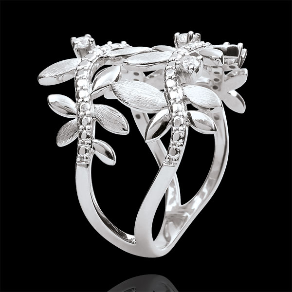 Ring Magische Tuin - Gebladerte Royal - dubbele - Diamanten en 18 karaat witgoud