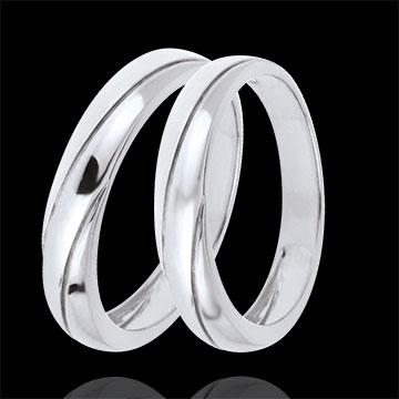 Wedding Rings Duo Saturn Trilogy -White gold - 9 carats