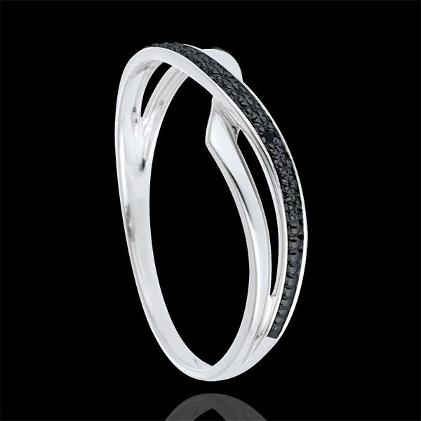 Ring Marina 9 karaat witgoud en zwarte Diamant