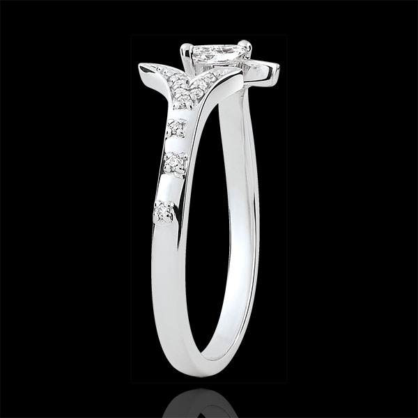 Ring Mysterious Wood - small model - white gold and marquise diamonds - 9 carats