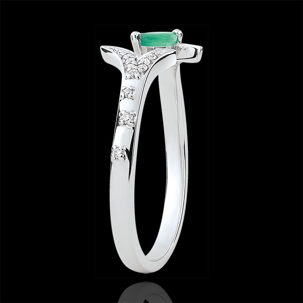Ring Mysterious Wood - small model - white gold and marquise emerald - 9 carats