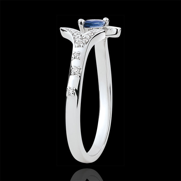Ring Mysterious Wood - small model - white gold and marquise sapphire - 9 carats