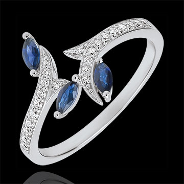 Ring Mysterious Woods - white gold, diamonds and sapphires boats - 9 carats