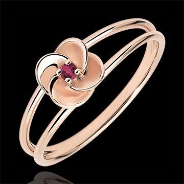 Ring Ontluiken - Eerste roze - roze goud en robijn - 18 karaat