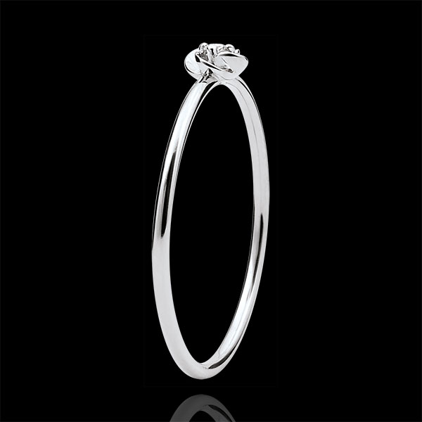 Ring Ontluiking - Eerste roze - klein model - 9 karaat witgoud met Diamant