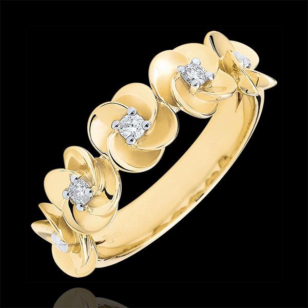 Ring Ontluiking - Kroon van rozen - 18 karaat geelgoud met Diamanten