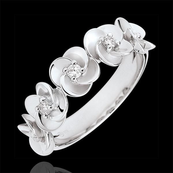 Ring Ontluiking - Kroon van rozen - 18 karaat witgoud met Diamanten