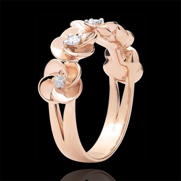 Ring Ontluiking - Kroon van rozen - 9 karaat rozégoud met Diamanten