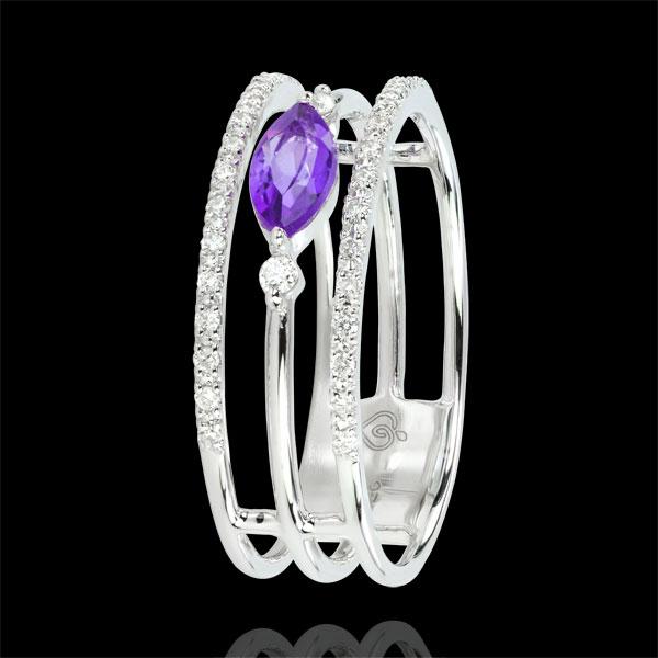 Ring Oriëntale Uitstraling - groot model - amethist en Diamanten - 9 karaat witgoud