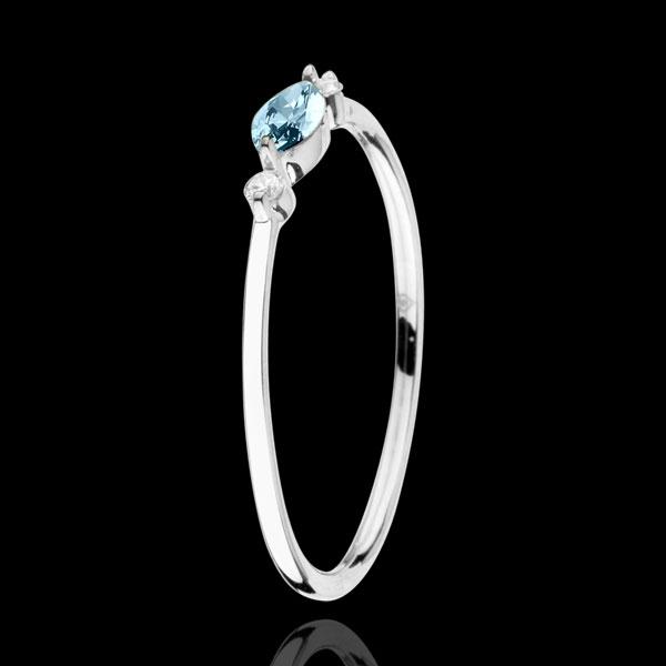 Ring Oriëntale Uitstraling - klein model - Blauwe Topaas en Diamanten - 9 karaat witgoud