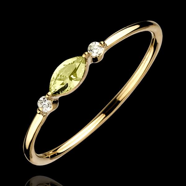 Ring Oriëntale Uitstraling - klein model - peridot en Diamanten - 9 karaat geelgoud