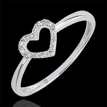 Ring Overvloed - Klein hartje - 18 karaat witgoud met diamanten