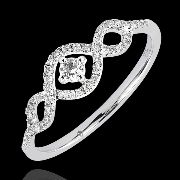 Ring Overvloed - Voluten - 9 karaat witgoud met diamanten