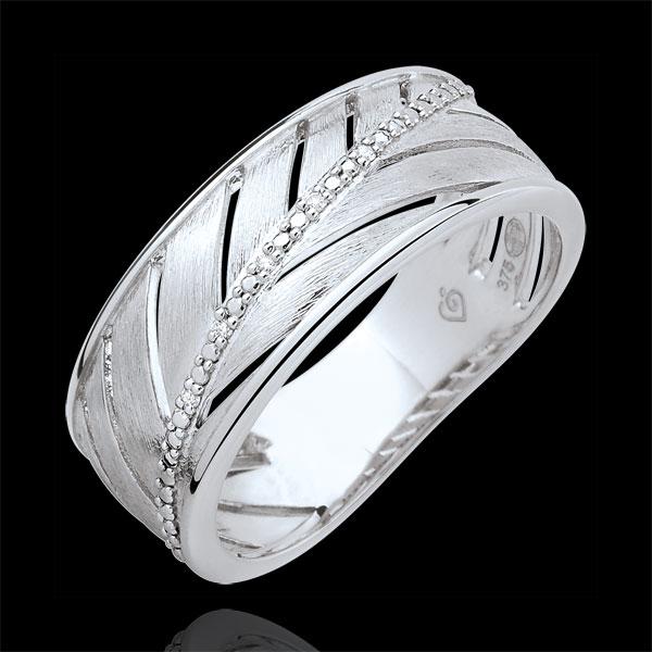 Ring Palm - geborsteld 9 karaat witgoud met Diamanten