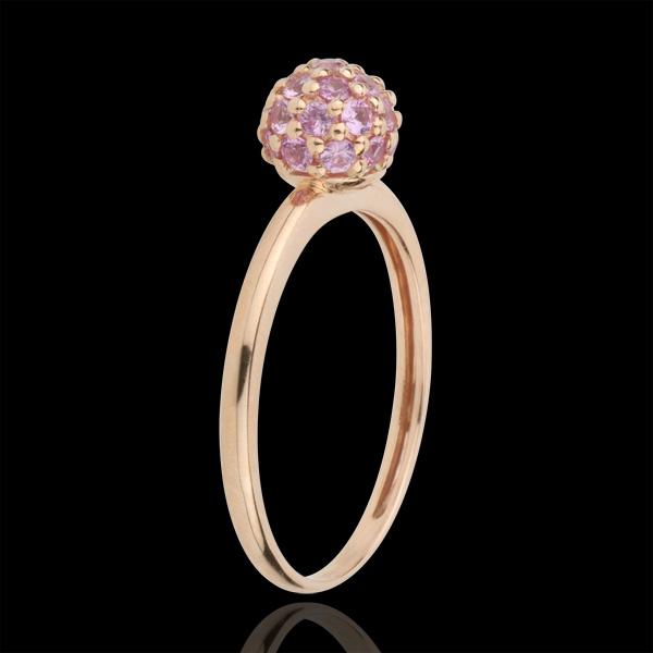 Ring Paradijsvogel - Bal - rozégoud en Roze Saffier - 9 karaat goud