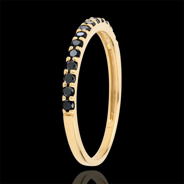Ring Paradijsvogel - een rij - 9 karaat geelgoud en zwarte Diamanten