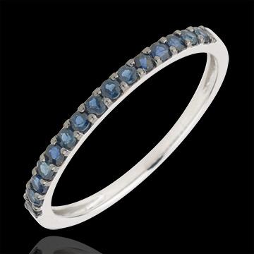 Ring Paradijsvogel - een rij - 9 karaat witgoud en Blauwe Saffier