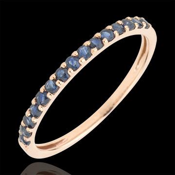 Ring Paradijsvogel - een rij - rozégoud en Blauwe Saffier - 9 karaat goud