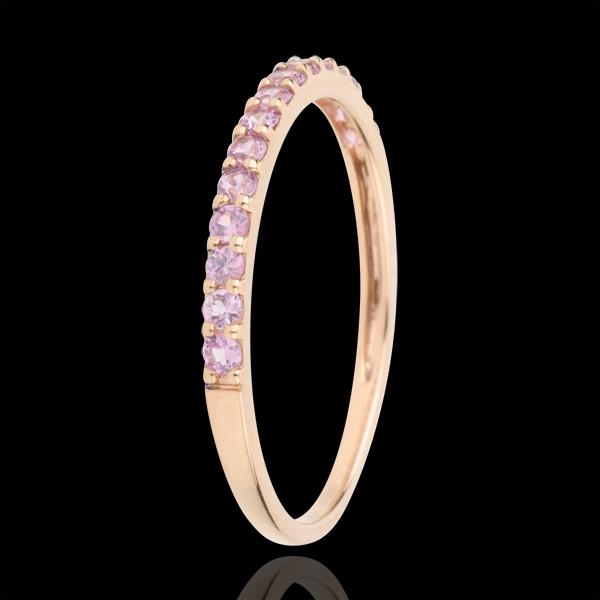 Ring Paradijsvogel - een rij - rozégoud en Roze Saffier - 9 karaat goud