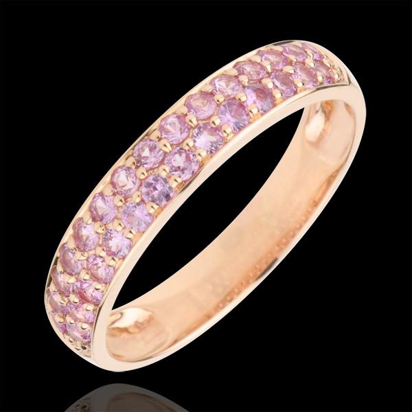Ring Paradijsvogel - twee rijen - rozégoud en Roze Saffier - 9 karaat goud