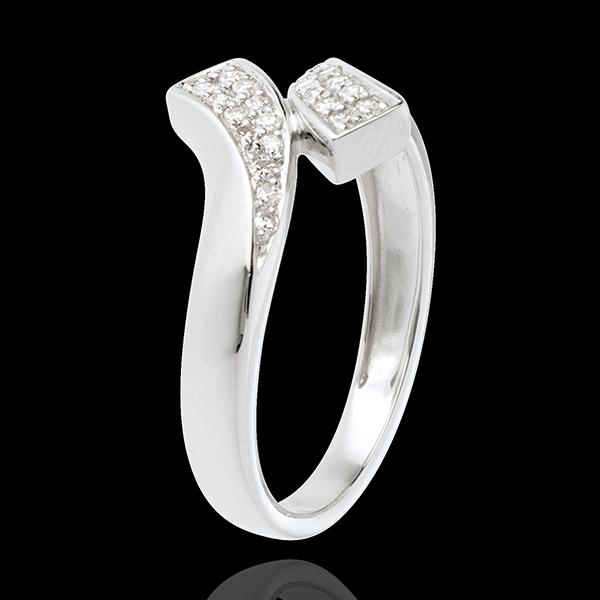 Ring pavézettinge band - 18 karaat witgoud - 24 Diamanten
