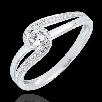 Ring Preciosa Liefdesnest - 18 karaat witgoud met Diamant - 0.12 karaat Diamant - 9 karaat